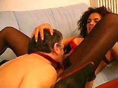 Curly brunette tranny sucked by guy
