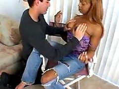 Yummy exotic tranny gives guy woody