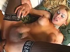 Shemale gets deep anal penetration