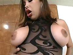 Busty gorgeous shemale tempting man