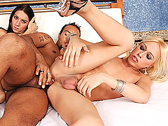 Tranny Hotties Tag Team Thick Tanned Cock