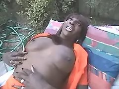 Ebony longhaired shemale shows off