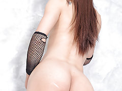 Lovely Asian transsexual Bam takes in some huge cock up that tight ass!
