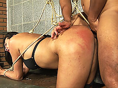 Submissive tranny spanked and fucked