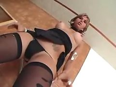 Sexy tranny shows off her hot body