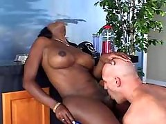 Man fucks ebony TS and cums on face