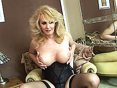 Older Blonde Shemale Working Her Meat