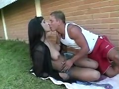 Brunette shemale seduces young guy
