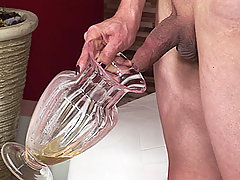 Nasty Blonde Shemale Pissing In A Vase